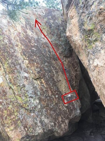 Start with your hands matched on the bottom ledge, make your way up the crack, and top out towards the left.