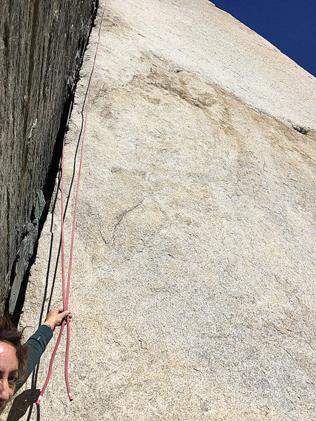 Ends of an 80-meter rope on Pratt's Crack.