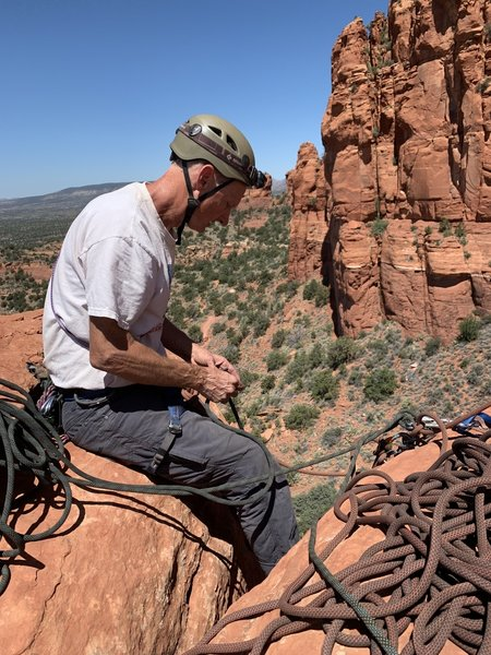 Great belay perch. A bit busy with 2 ropes but worth it to get us all up to the summit of this spire.