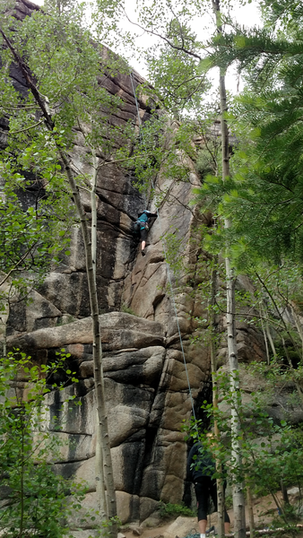 July 7 2019 Taco Time. The lower crack is a challenge for less experienced climbers. It climbs like a 5.9 then changes to 5.8 depending on your experience level.