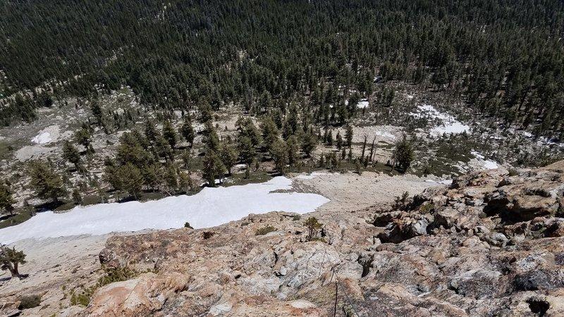 Looking down on P3. Snowfield in July of 2019.