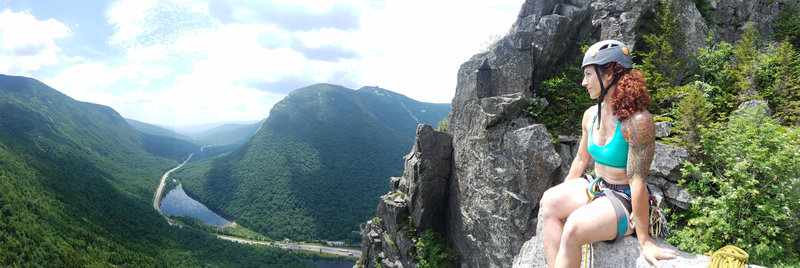 View from the top of The Eaglet. Looking out over Franconia Notch - July 5, 2019