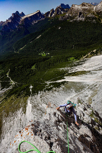 Tricia Bonman rounding the first exposed arete.