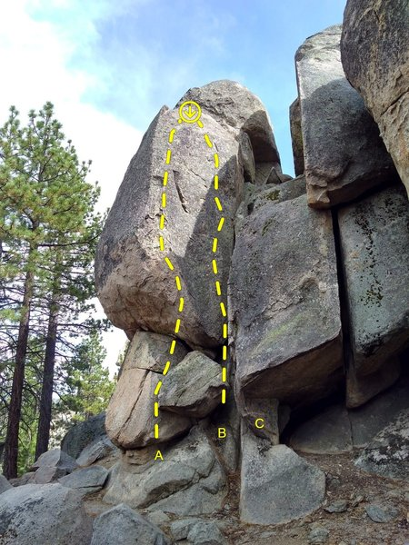 Left side of the Black Magic Wall, Holcomb Valley Pinnacles<br> <br> A. Wizard's Reach (5.9)<br> B. Black Magic (5.7)<br> C. Project