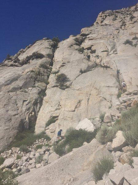 Center climber running the errand