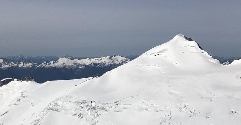 East ridge of Eldorado Peak follows the left-hand skyline.  Photo taken from the base of Klawatti.