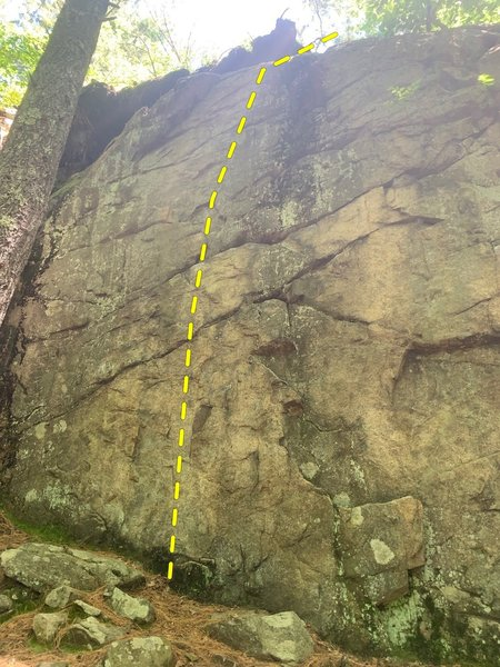 The route follows easy moves on some horizontal cracks to the topout.