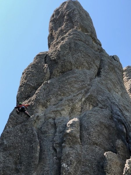 Mark Rafferty about to transition onto the Ramp on pitch one of Spire One on his Picnic Day Traverse