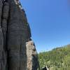 Mark and John Lang at the first pitch Belay anchors on Spire Ones First Pitch. Picnic Traverse Day