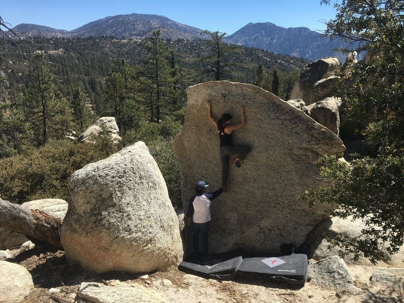 Unknown climber on the V Boulder