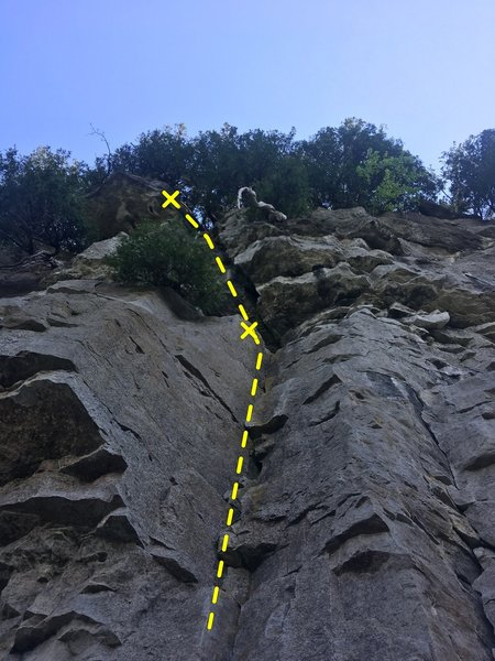 Third Time Lucky from the ground. Visible is the fingercrack, leading to the ledge and the offwidth. The final mark is around the shared anchor.