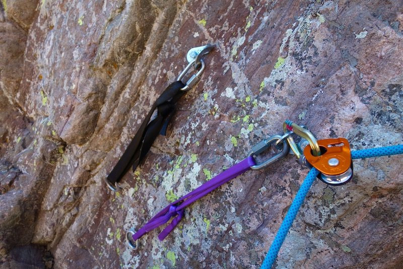 Shiny bolt anchors on the 3-pitch direct start. (We simulclimbed the direct start in one pitch, using a microtraxion as pictured in the photo.)