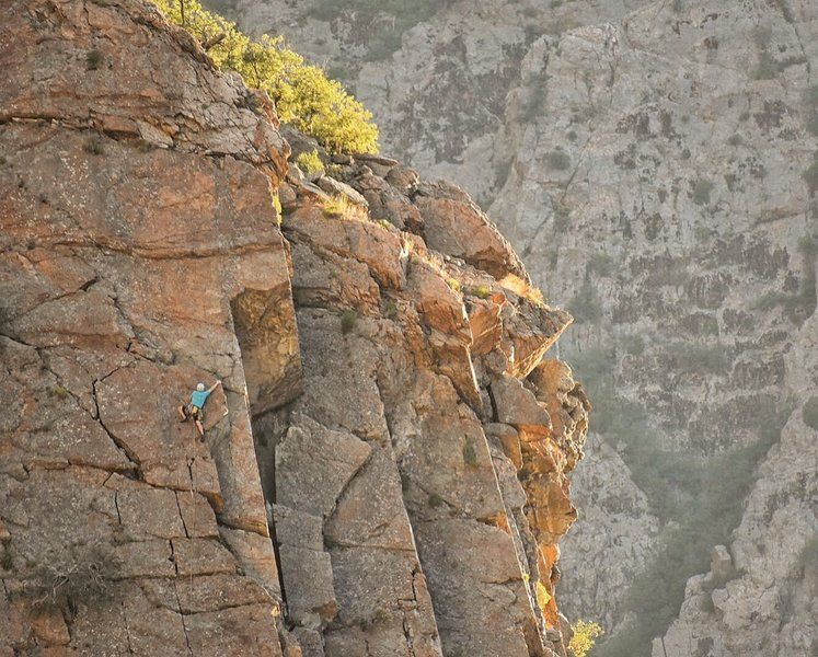 Nearing the crux. Photo by David Connell