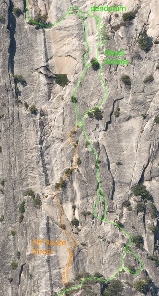 Royal Arches middle pitches, and Off Route Direct.  photo from xRez.com