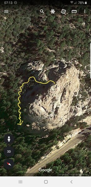 Yellow line shows nicest walk off of summit. Contour to RIGHT after saddle takes you to a climbers trail through pines rather than following the loose scree slope if you contour along Barnum rock proper