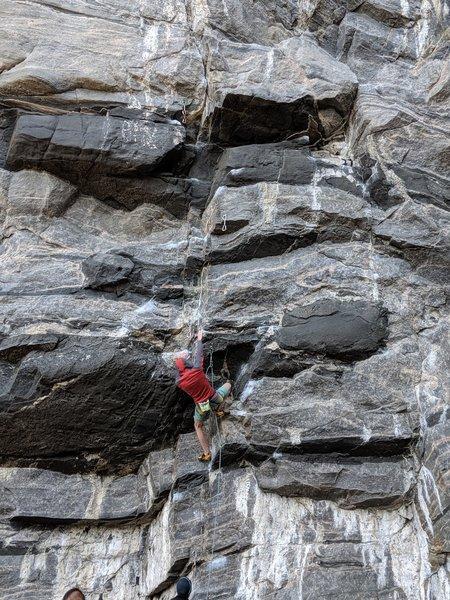 Climber warming up on Hovdegjengen