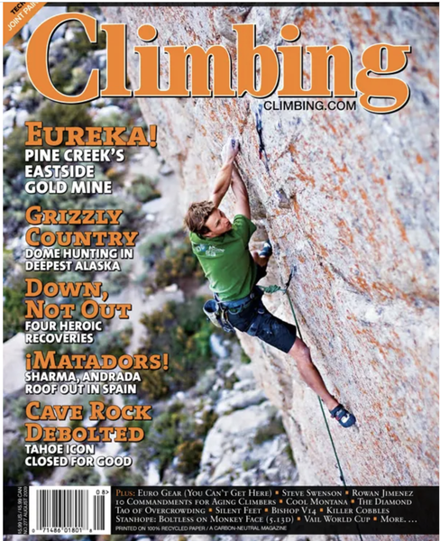 There's a comment from Tony Sartin on the route page for The Remington Electric that mentions INTW, saying that it made the cover of climbing magazine. So I did a bit of Googling and dug it up!