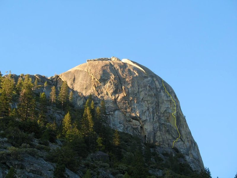 A closer look at Kerkoff Dome, with 'Bear Claw Headwall' (5.8 A3) drawn in.