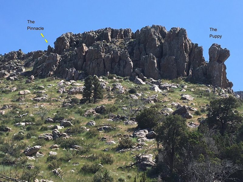 Steep crags at Colossus, including The Puppy to far right. Lots of good lines amidst these crags, some good boulders below. The dark spot on The Puppy's neck is an eagle's nest.