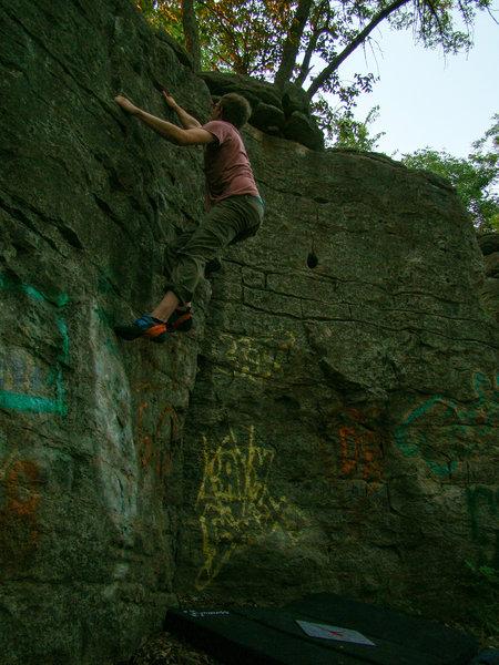 Jordan Hehl sending the last bit of the traverse