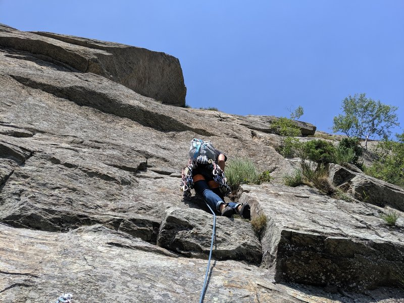Ronda starting the last pitch of Pesce D'Aprile from the rap anchor.