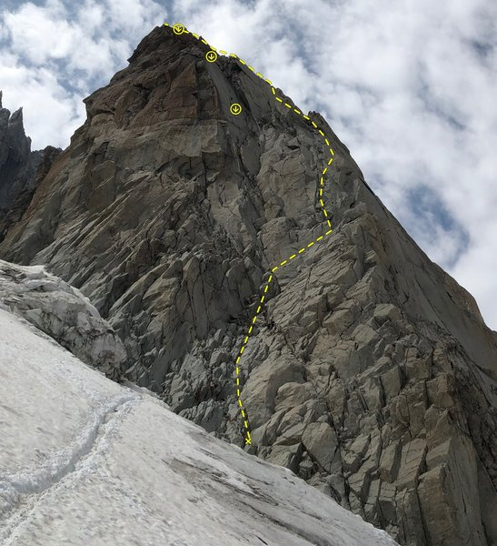 """East ridge of Pyramide du Tacul - route on the south face is only approximate as there are many variations to reach the overhang below the ridgeline."""""""