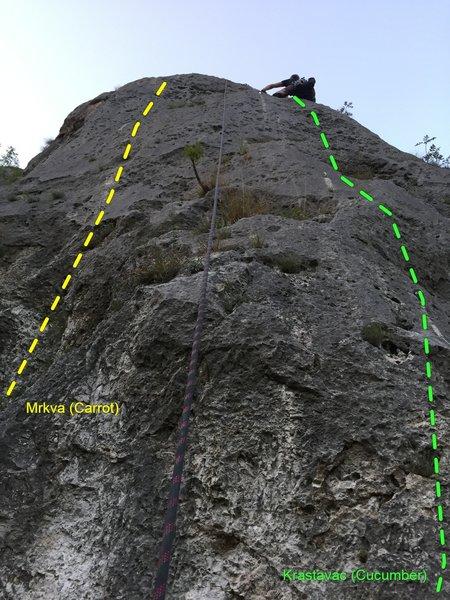 Nate climbs Cucummber, in the Jelasnica Gorge in Serbia.