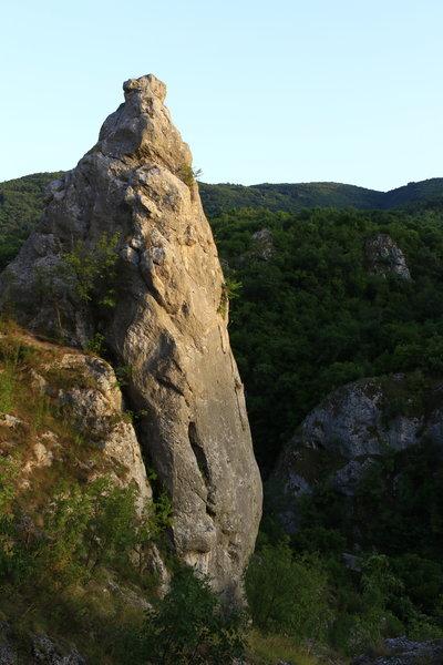 The distinct Glava Secera tower in the Jelasnica Gorge, Serbia.