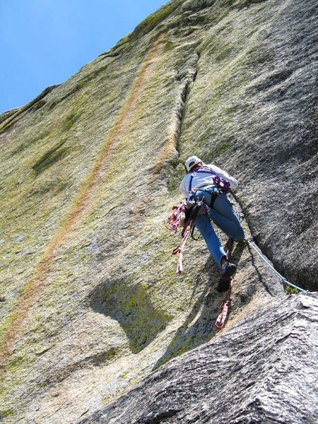 The late Mark Hammond whacking in a few KB's on 'Bear Claw Headwall (5.8 A3). FA. Kenny Rose