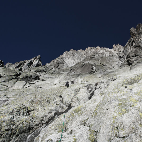TDL simuling up the lower third of the Mer de Glace Face on the Grepon