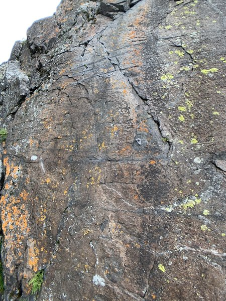 Crux at the last bolt above the ledge.