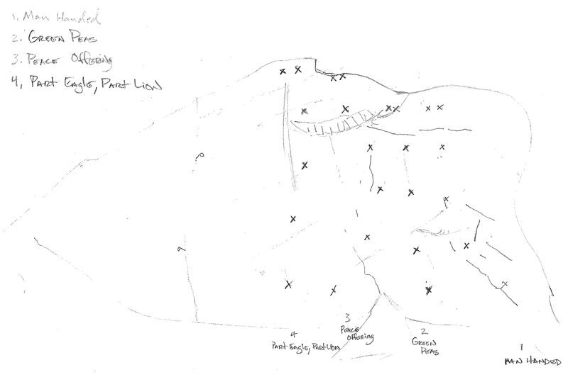 Original drawing of the first 4 routes bolted on Owl Slab with the name of each route.  Bolted by Josh Norris, Ben Church, Adam Shields, and Jessica Kiel.