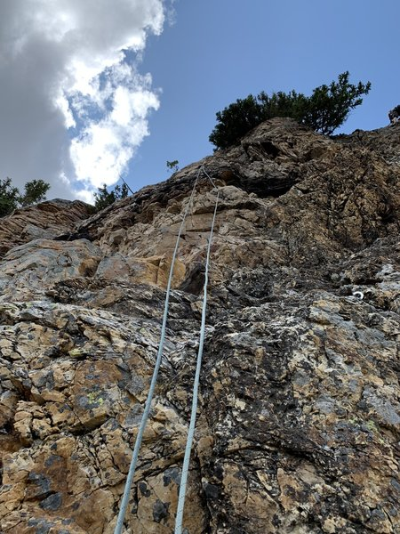 Looking up the varied rock on Rezin Heads. Start to the right.