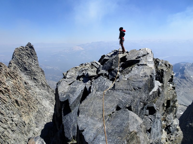 Summit of Michael on a smokey day during the Lion's Fire in 2018. Clyde Minaret in the background