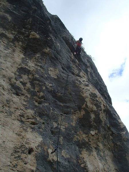 Done with the crux, onto the jug tugging to the chains, sent right after the rain