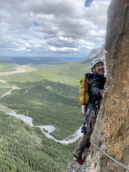 Starting the traverse on pitch 5.