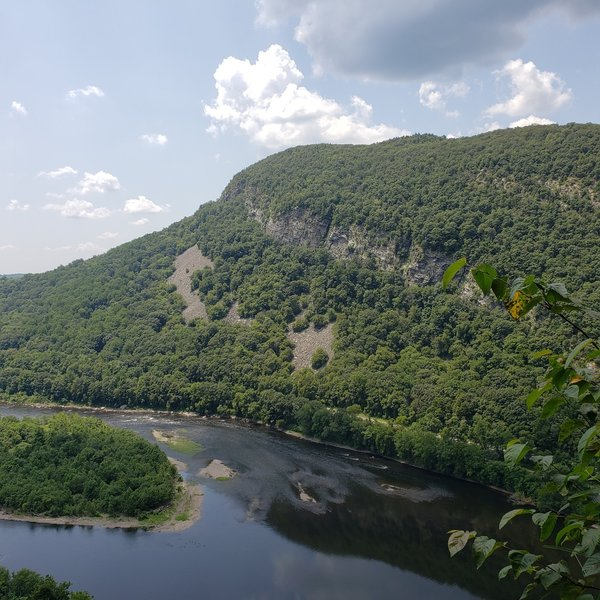 View from the belay ledge at the top of the first pitch on The Rib.  Beautiful view of The Delaware River below!!