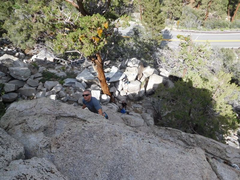 Chuck near the top of Blue Sky Highway (5.6), Onyx Summit Crag