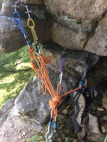 Anchor at the top of P1. Only eats small cams. No real place for passive pro that I could come up with. Plan accordingly. I saw another photo on MP where it looks like belayer slung the wide blocky crack.