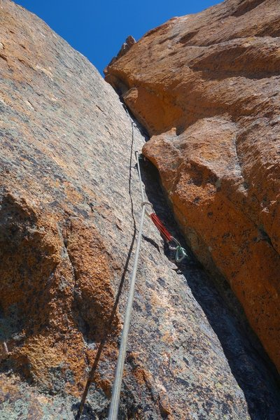 Pitch 8. At least the way we went. This corner crack is to the left from belay at top of Pitch 7. Might be other options around right.