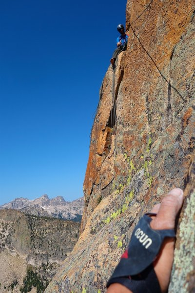 Belay at end of Pitch 7. You could also go one ledge higher.