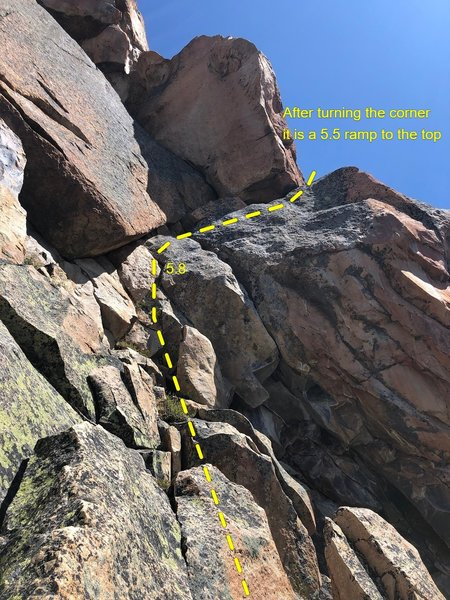 After leaving the Beckey Tree, climb until you see this corner. Belay at the base, then follow this topo to the top!