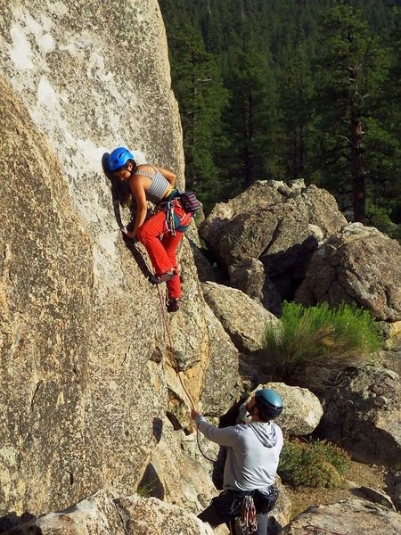 Jubes makes quick work of the crux, with Kelly on the catch.  30 Jul 2019.