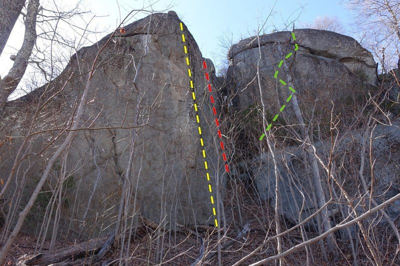 Brian's Route (yellow), Chigger Rigor (red), Clabber the Sky (green)
