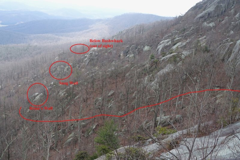 """Location of Waking Dream Wall is marked by """"Below Bushwhack"""" on this view from the Ridge Trail."""