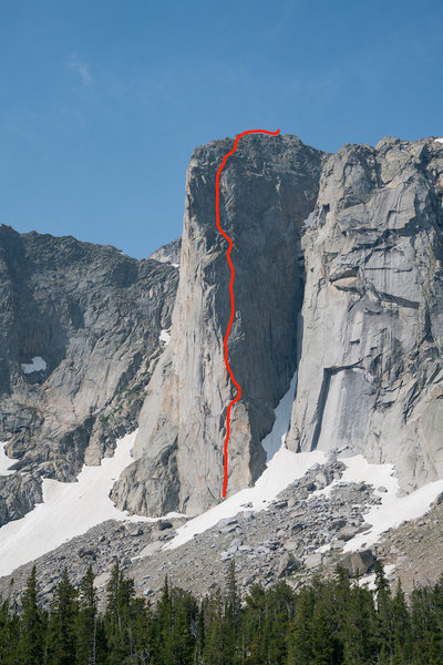 The Dogtooth Pinnacle, showing the line of Once Bitten (5.10).