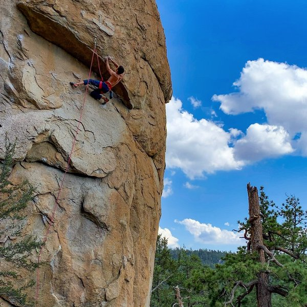 Cliff T scoping out the crux