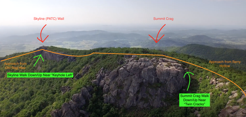 A little diagram and approach better of the summit Crag and Skyline (PATC Wall)