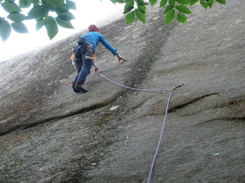 "RW has just clipped the first bolt on ""Found Arch"" but has ""cheated"" a little by first clipping the first bolt on ""Lost Arch"".  The first bolt on ""Lost Arch"" is also popular with climbers leading Vector."