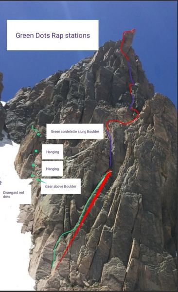 Green dot rap stations beta photo: after traversing from the Grassy ledge. Note this will get you to the snow couloir, but you'll have to downclimb snow, steeper than Lamb's Slide slope to get back to the beginning of the route! BRING CRAMPONS AND an AXE.